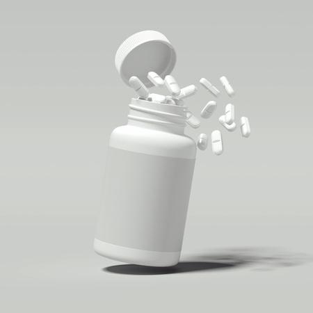 Pillole bianche che si rovesciano dalla bottiglia bianca, rendering 3d. Archivio Fotografico