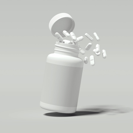 White pills spilling out of white bottle, 3d rendering.