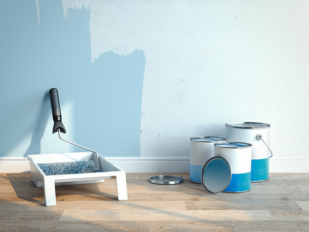 Paint cans near light blue walls, 2 cans are opened, 1 is closed, 3d rendering