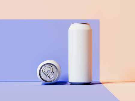Blank white metallic cans on multicolour background, 3d rendering.