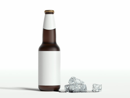 Beer glass bottle with blank label and ice on white background, 3d rendering. 写真素材