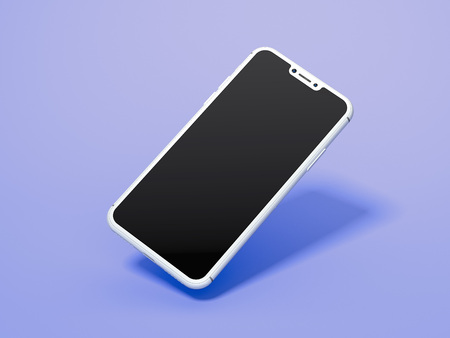 Black isolated mobile phone on light violet background, 3d rendering.