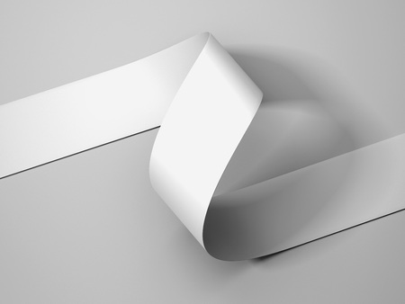 White paper ribbon on light gray background, 3d rendering. 版權商用圖片