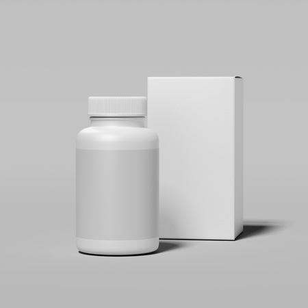 White bottle and white box on light gray background, 3d rendering. 写真素材