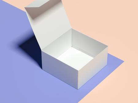 Opened empty white cardboard box on multicolour background, 3d rendering. Stock Photo