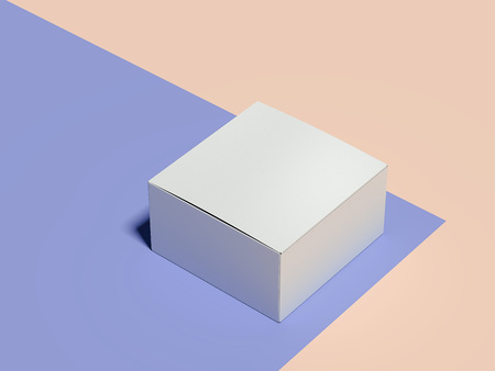 Closed empty white cardboard box on multicolour background, 3d rendering.