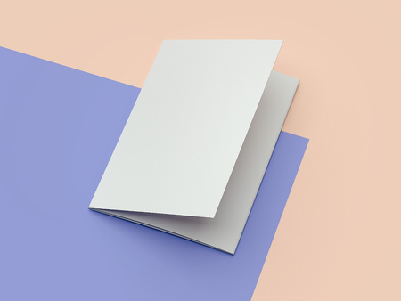 White cardboard brochure on multicolour background, 3d rendering.
