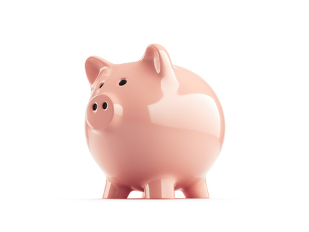 Pink piggy bank on white background, side view. 3d rendering.