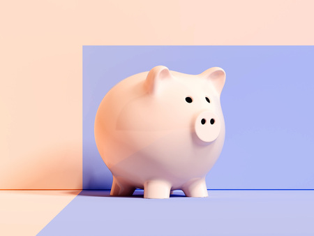 Pink glossy piggy bank on multicolored background, side view. 3d rendering. Banco de Imagens