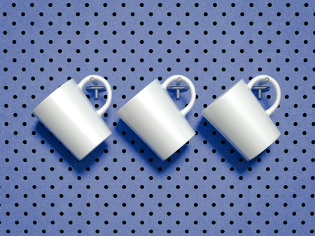 Set of white mugs hanged on metal hooks. 3d rendering. 写真素材
