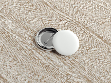 White pin buttons on wooden background, 3d rendering.