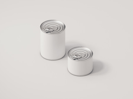 White cans on white background, 3d rendering,