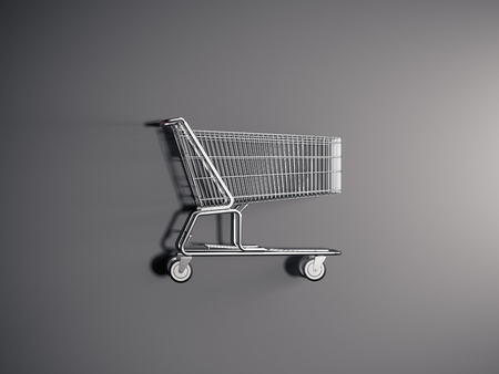 Realistic shopping cart on grey background, 3d rendering. Reklamní fotografie - 106926016