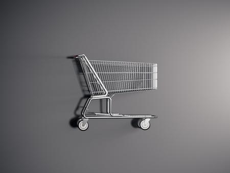 Realistische winkelwagen op grijze achtergrond, 3D-rendering.