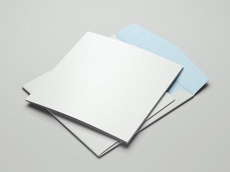 Close up of blank leaflets and envelope set, 3d rendering.