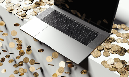 Cryptocurrency collapse. Laptop on falling bitcoins background, 3d rendering