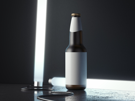 Dark beer glass bottle with blank label next to illuminated lamps, 3d rendering. Stock Photo
