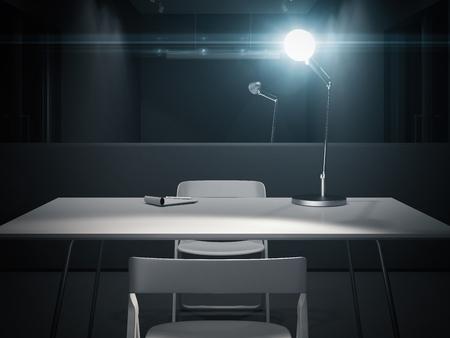 Sala de interrogatorios oscura con lámpara encendida, renderizado 3d.