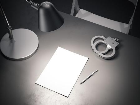 Mesa gris con lámpara encendida, esposas y hoja de papel, render 3d.
