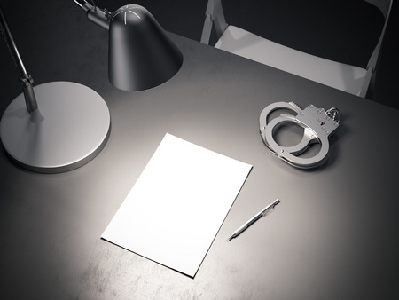 Grey table with switched-on lamp, handcuffs and paper sheet, 3d rendering.