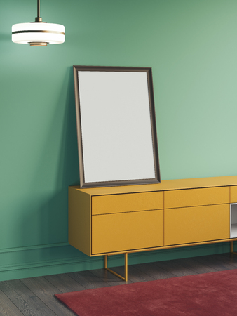 Blank white poster on yellow cupboard next to green walls, 3d rendering.