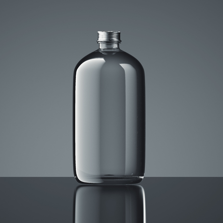 Transparent closed bottle on dark background, 3d rendering.