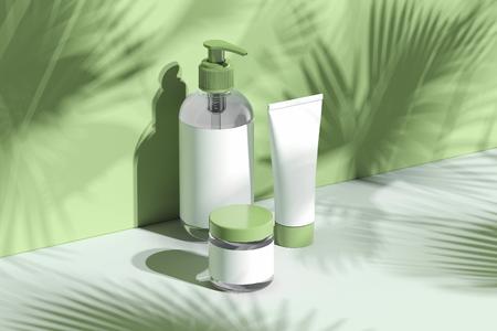 Set di flaconi cosmetici per crema, lozione. Contenitori di plastica vuoti. rendering 3D.