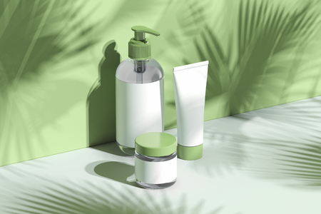 Zestaw butelek kosmetycznych na krem, balsam. Puste plastikowe pojemniki. renderowania 3D.