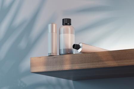Kosmetisches Flaschenset für Creme, Lotion. Leere Plastikbehälter. 3D-Rendering.