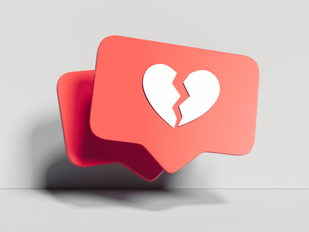 Red broken heart Like symbol on white background, 3d rendering.