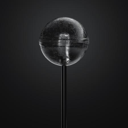 Black realistic transparent lollipop on black background, 3d rendering,
