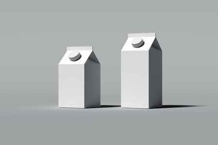 White blank cardboard packages for beverages on grey background, 3d rendering.