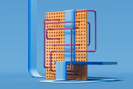 Multicolored geometric figures and objects on blue background. 3d rendering. Фото со стока