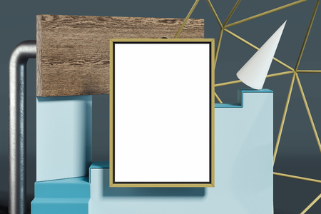 Blank poster on multicolored geometric figures background. 3d rendering. Imagens - 114374493