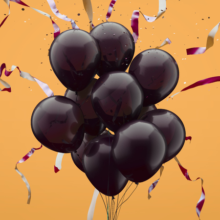 Realistic balloons with serpentine on yellow background. 3d rendering.