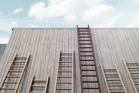 Different ladders next to wooden bright building wall, 3d rendering. 版權商用圖片