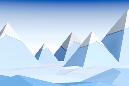 Snow covered blue mountains and blue sky. 3d rendering. Stock fotó
