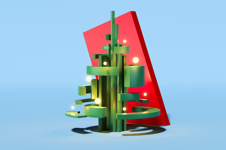 Green abstract christmas tree on light blue background. 3d rendering.