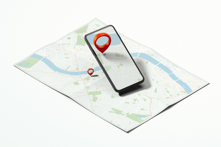 Red geotag or map pin in mobile phone on realistic map. 3d rendering.
