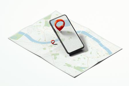 Rode geotag of kaartspeld in mobiele telefoon op realistische kaart. 3D-rendering. Stockfoto