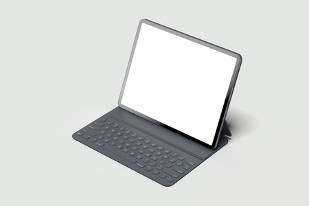 Black modern laptop with blank screen on light background. 3d rendering. Reklamní fotografie - 114374313