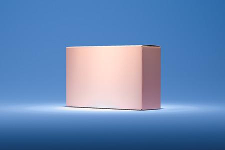 Boîte en carton réaliste rose isolée sur fond bleu. rendu 3D. Banque d'images