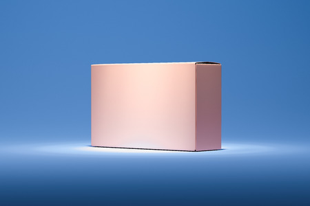 Isolated pink realistic cardboard box on blue background. 3d rendering.