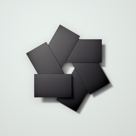Blank black cards arranged in camera diaphragm shape, 3d rendering. 版權商用圖片