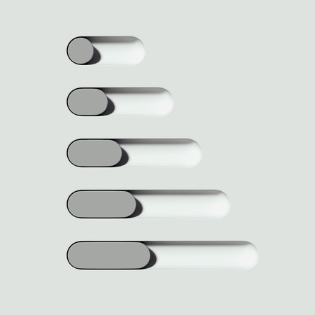 White and grey toggle buttons on light background. 3d rendering.