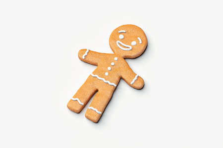 Realistic smiling cute gingerbread on light background. 3d rendering.