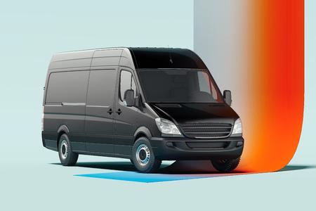 Camion blanc noir sur fond multicolore illuminé. rendu 3D.