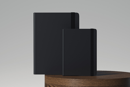 Set of black realistic notepad isolated on light background. 3d rendering.