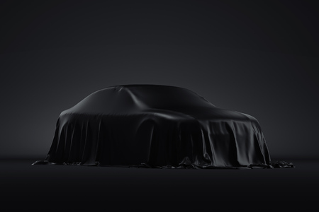 Presentation of the car covered with a black cloth. 3d rendering Foto de archivo - 117814072