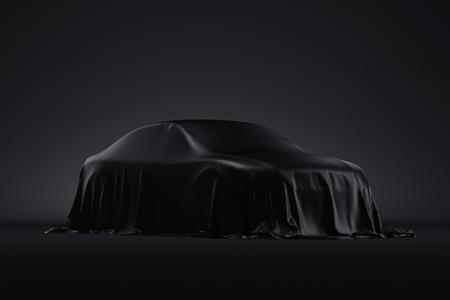 Presentazione dell'auto coperta da un telo nero. rendering 3d